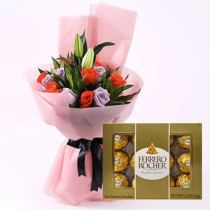 Elegant Flower Bouquet & Ferrero Rocher 12 Pcs