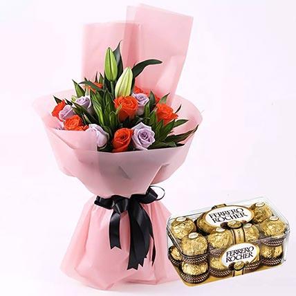 Elegant Flower Bouquet & Ferrero Rocher 16 Pcs