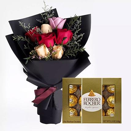 Mixed Roses Posy & Ferrero Rocher 12 Pcs