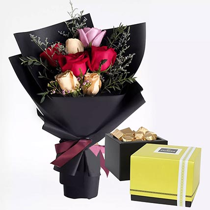 Mixed Roses Posy & Patchi Chocolates 500 gms