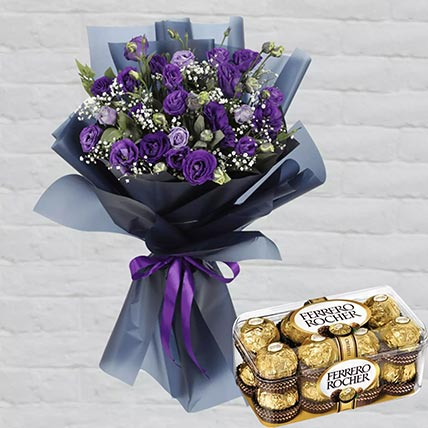 Purple Lisianthus & Ferrero Rocher 16 Pcs