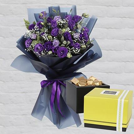 Purple Lisianthus & Patchi Chocolates 750 gms