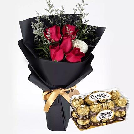Romantic Red Roses & Ferrero Rocher 16 Pcs
