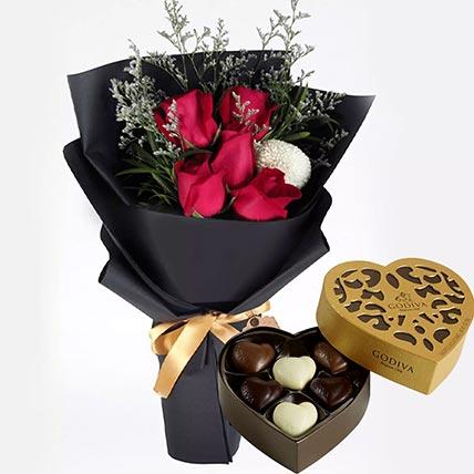 Romantic Red Roses & Godiva Chocolates 250 gms