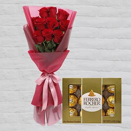 Romantic Red Roses Posy & Ferrero Rocher 12 Pcs