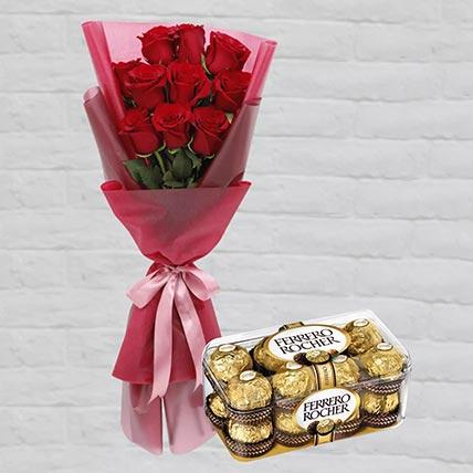 Romantic Red Roses Posy & Ferrero Rocher 16 Pcs