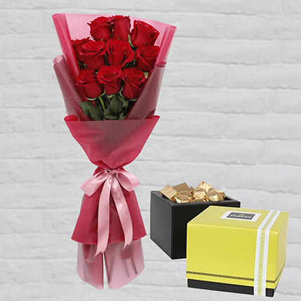 Romantic Red Roses Posy & Patchi Chocolates 500 gms