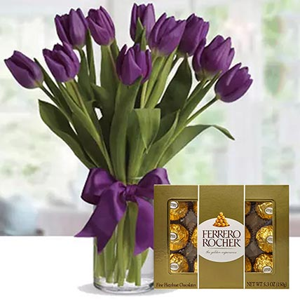 Royal Purple Tulips & Ferrero Rocher 12 Pcs