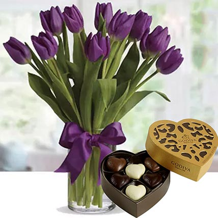 Royal Purple Tulips & Godiva Chocolates 250 gms
