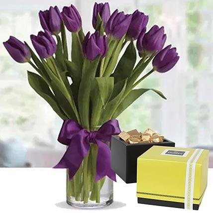 Royal Purple Tulips & Patchi Chocolates 250 gms