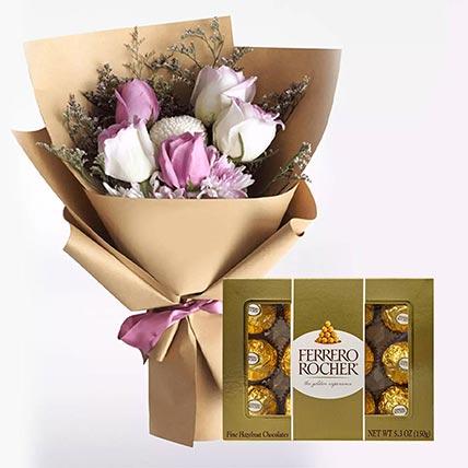 White Purple Flowers & Ferrero Rocher 12 Pcs
