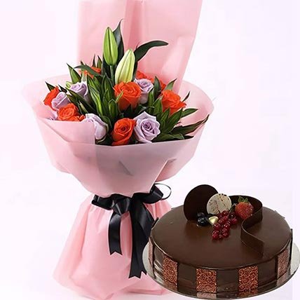 Chocolate Cake with Mixed Roses
