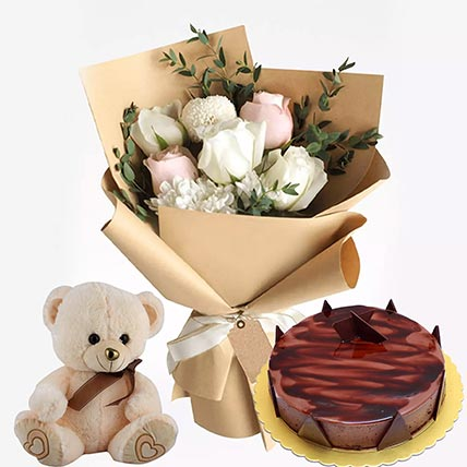 Chocolate Ganache Cake & Flowers Hamper