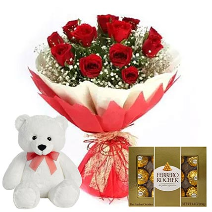 Chocolate with Red Roses & Teddy Bear