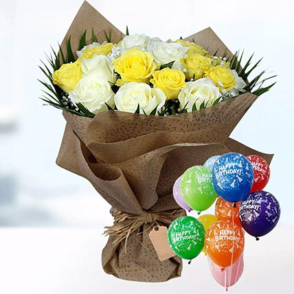 Happy Birthday Balloons with Roses Bunch
