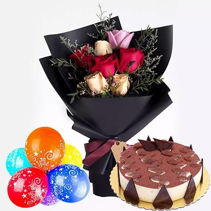 Roses & Cake Happy Anniversary Combo