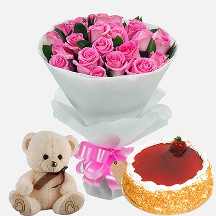 Strawberry Cake with Roses & Soft Toy