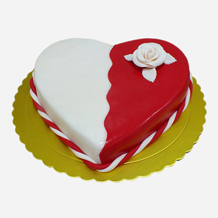 Red And White Heart Shape Cake
