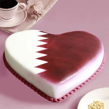 Qatar National Day Theme Heart Shaped Cake