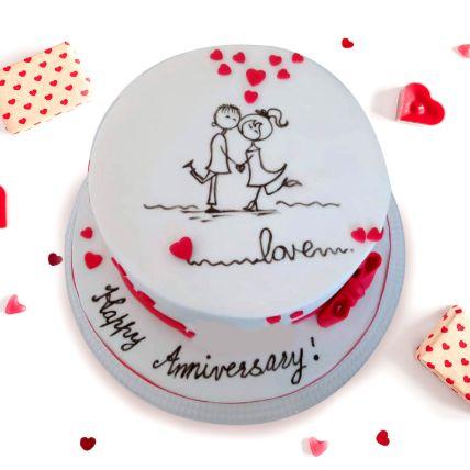 Beautiful Anniversary Chocolate Cake 1.5 Kgs