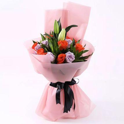Bunch Of Orange & Purple Roses