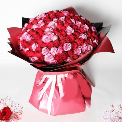 200 Red and Pink Roses Bouquet