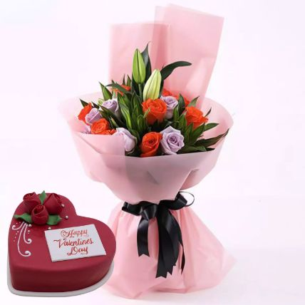 Beautiful Roses Bouquet With Heart Shape Cake
