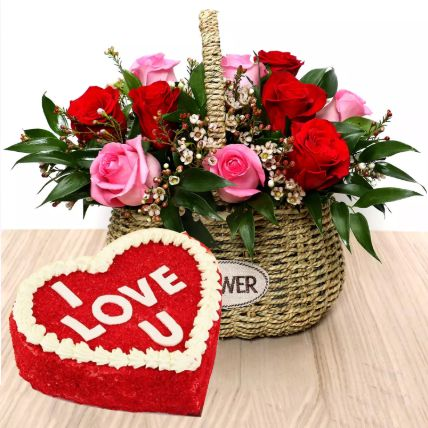 I Love You Red Velvet Cake And Roses Basket