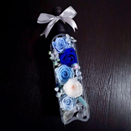 Blue Flower Art Bottle