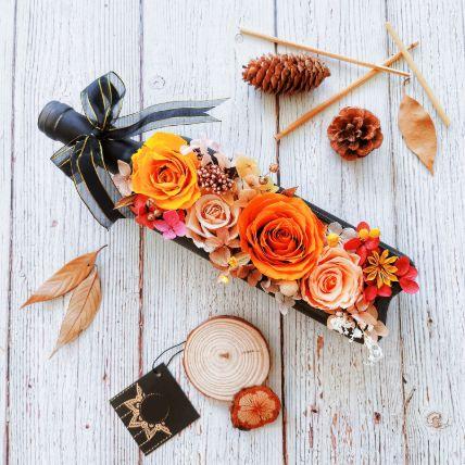 Orange Flower Bottle Art