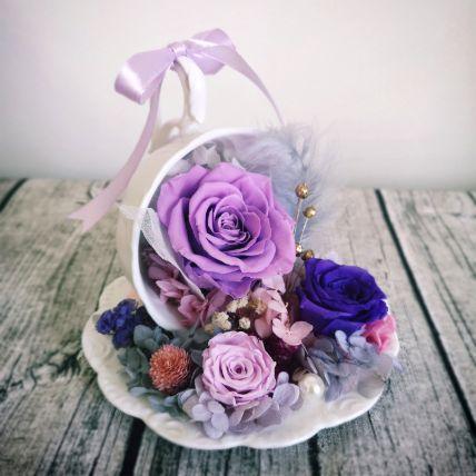 Purple Flower Sitting Tea Cup