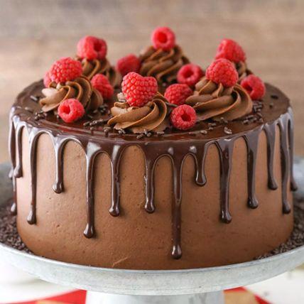 Eggless Chocolate Raspberry Cake