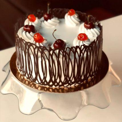Eggless Swirly Style Black Forest Cake