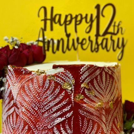 Happy 12th Anniversary Vanilla Cake