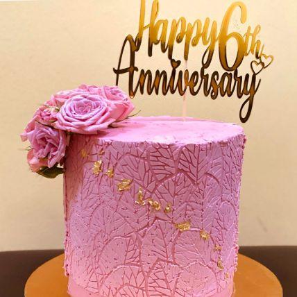 Happy Anniversary Pink Rose Vanilla Cake