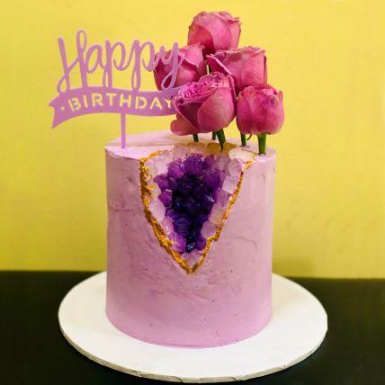 Happy Birthday Floral Red Velvet Cake
