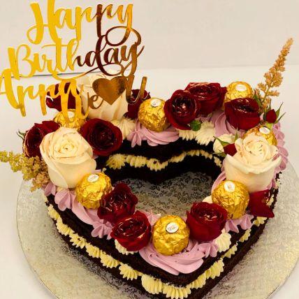 Heart Shape Happy Birthday Chocolate Cake