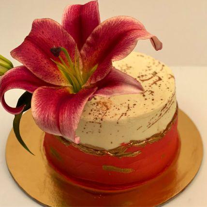 Lily Flower Red Velvet Cake
