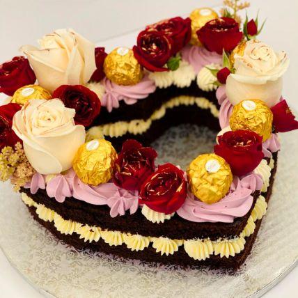 Rosy Heart Vanilla Cake
