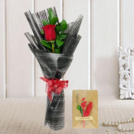 Single Rose Bouquet & Handmade Greeting Card