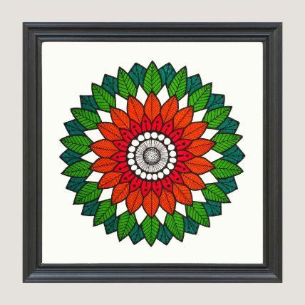 Green & Orange Art Black Frame