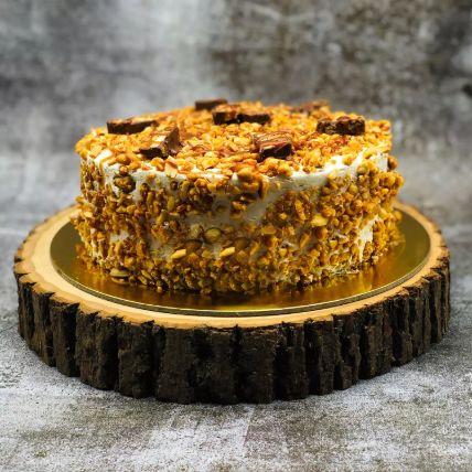 Eggless Snickers Peanut Cake