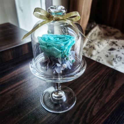 Forever Blue Rose In High Heel Transparent Glass