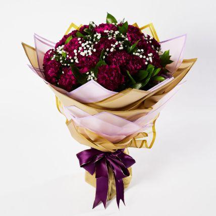 Alluring Purple Carnations Bouquet