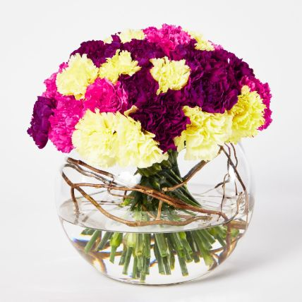 Beautiful Mixed Carnations Bowl Arrangement