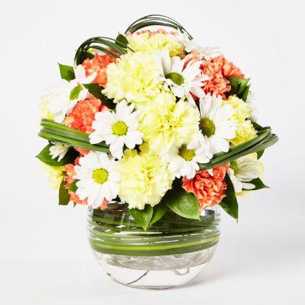 Blissful Mixed Flowers Bowl Arrangement