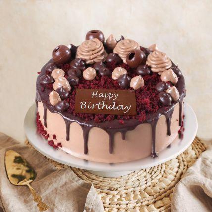 Choco Velvet Birthday Cake Half Kg