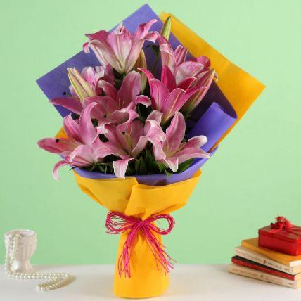 Enchanting Pink Oriental Lilies Bouquet