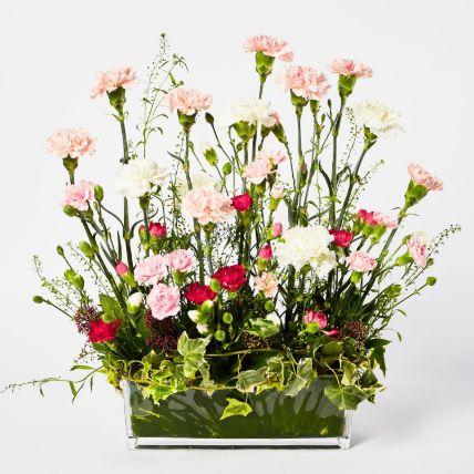 Exclusive Mixed Carnations Glass Vase Arrangement