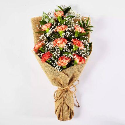 Lovely Orange Carnations Bouquet